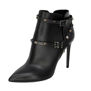Valentino Studded Leather Ankle Black Boots