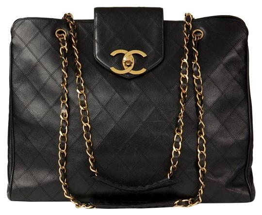 7074a4cba58a chanel supermodel vintage quilted shopper black lambskin leather weekend  travel bag .
