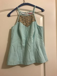 Lilly Pulitzer Blue Like New Annabelle Halter Top Teal and gold
