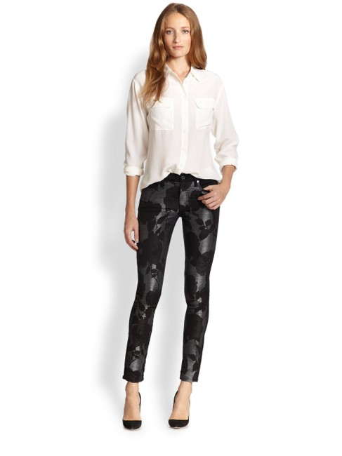 7 For All Mankind Blck Dark Rinse Seven Women's Floral Print Stretch Skinny Straight Leg Jeans Size 27 (4, S) 7 For All Mankind Blck Dark Rinse Seven Women's Floral Print Stretch Skinny Straight Leg Jeans Size 27 (4, S) Image 1