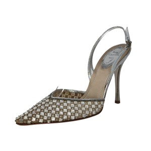 Rene Caovilla Slingback Mesh Crystal Sequin Pointed Toe Silver Pumps