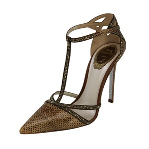Rene Caovilla Snakeskin Crystal Pointed Toe Stiletto Brown Pumps