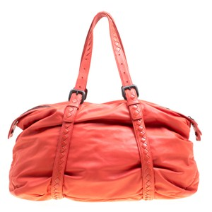 Bottega Veneta Leather Suede Tote in Orange