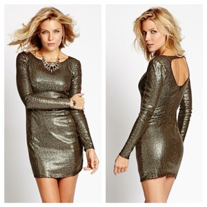 Guess Sequined Long Sleeve Cutout Back Bodycon Dress