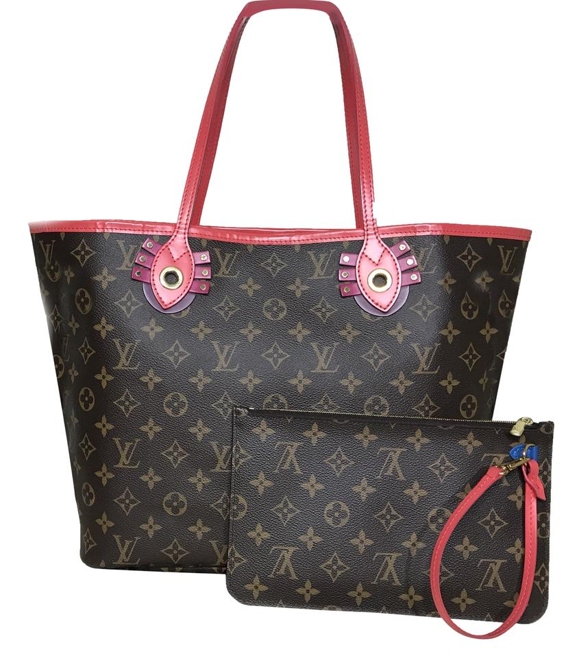 6b6a2332047 Louis Vuitton Neverfull Monogram Limited Edition Brown Leather Tote 45% off  retail