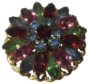 Vintage Vintage colorful stone flower Brooch pin