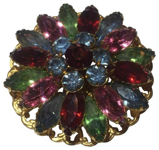 Vintage Vintage colorful stone flower Brooch pin Image 0