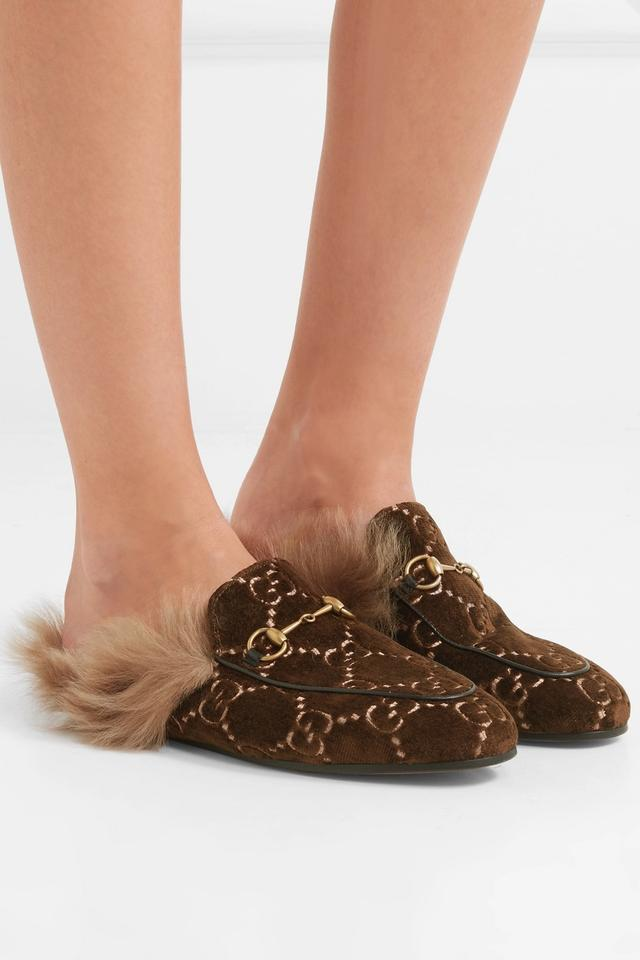 1fbaaf444 Gucci Brown New Princetown Gg Velvet Loafers Fur Slippers Mules ...