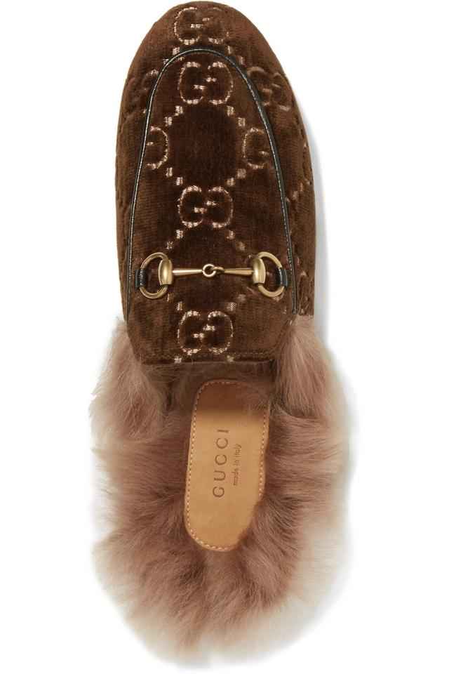c88ab6d4686 Gucci Brown New Princetown Gg Velvet Loafers Fur Slippers Mules ...
