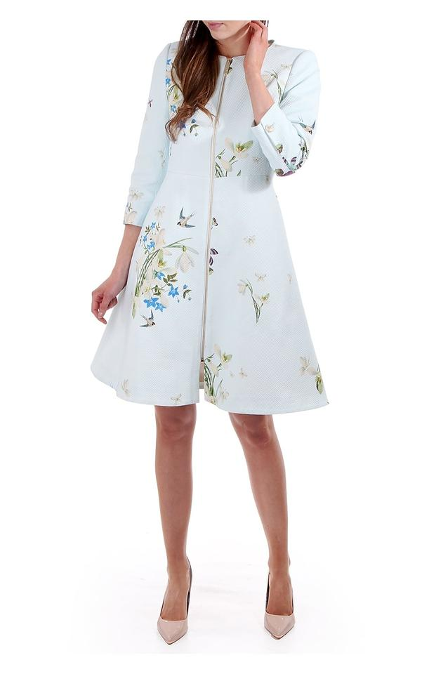 a73c01892449 Ted Baker Baby Blue Racheel Spring Meadow Print Coat Size 8 (M ...