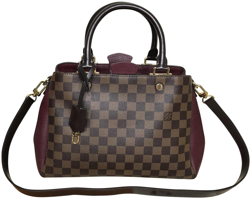 Louis Vuitton Brittany Damier Ebene Brown Leather Shoulder Bag 21 Off Retail
