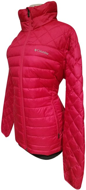 Item - Tropical Red Woman Light Puffy Polyester Large Jacket Size 14 (L)