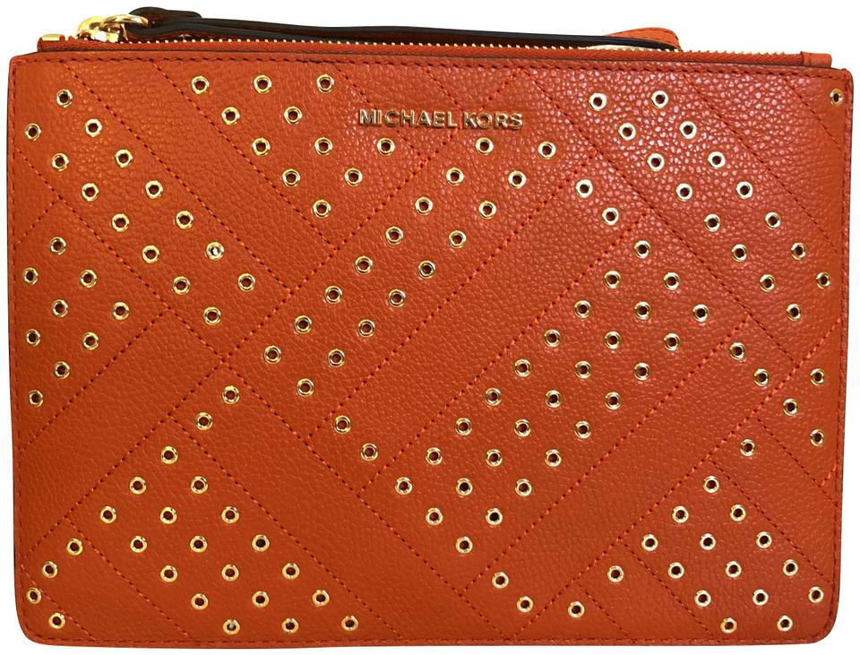 c1a760bedfd8 Michael Kors Jet Set Travel Xl Persimmon Leather Clutch - Tradesy