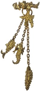 Vintage Vintage sea life gold charm chain Brooch Pin