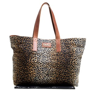 Dolce&Gabbana Leather Canvas Tote in Brown