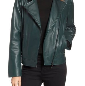Bernardo dark green Leather Jacket