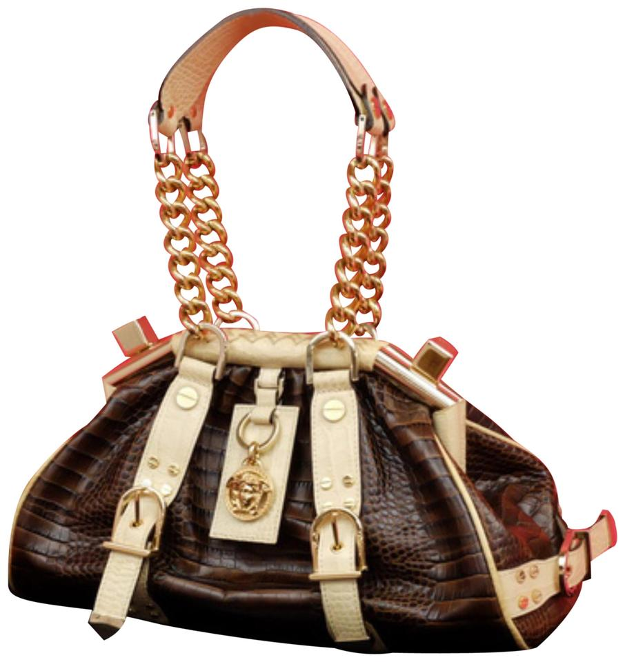 5740d6bf96 Versace  ebey Sold  Croc Embossed Madonna Chain Hobo Boston 232673 Brown X  Cream Leather Shoulder Bag