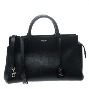 Saint Laurent Leather Suede Tote in Black