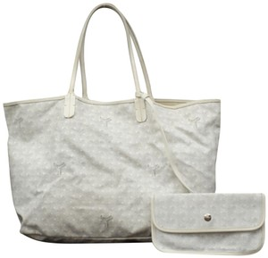 Goyard Neverfull Saint Louis Goyardine Chevron Tote in White