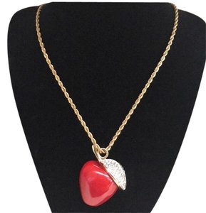 Kenneth Jay Lane Red Resin Apple and Crystal Pendant