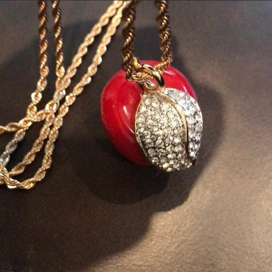 Kenneth Jay Lane Red Resin Apple and Crystal Pendant Image 3