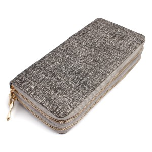 Riah Fashion Two-Tone Double Zipper Wallet