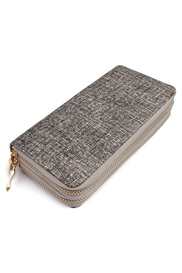 Riah Fashion Two-Tone Double Zipper Wallet Image 1