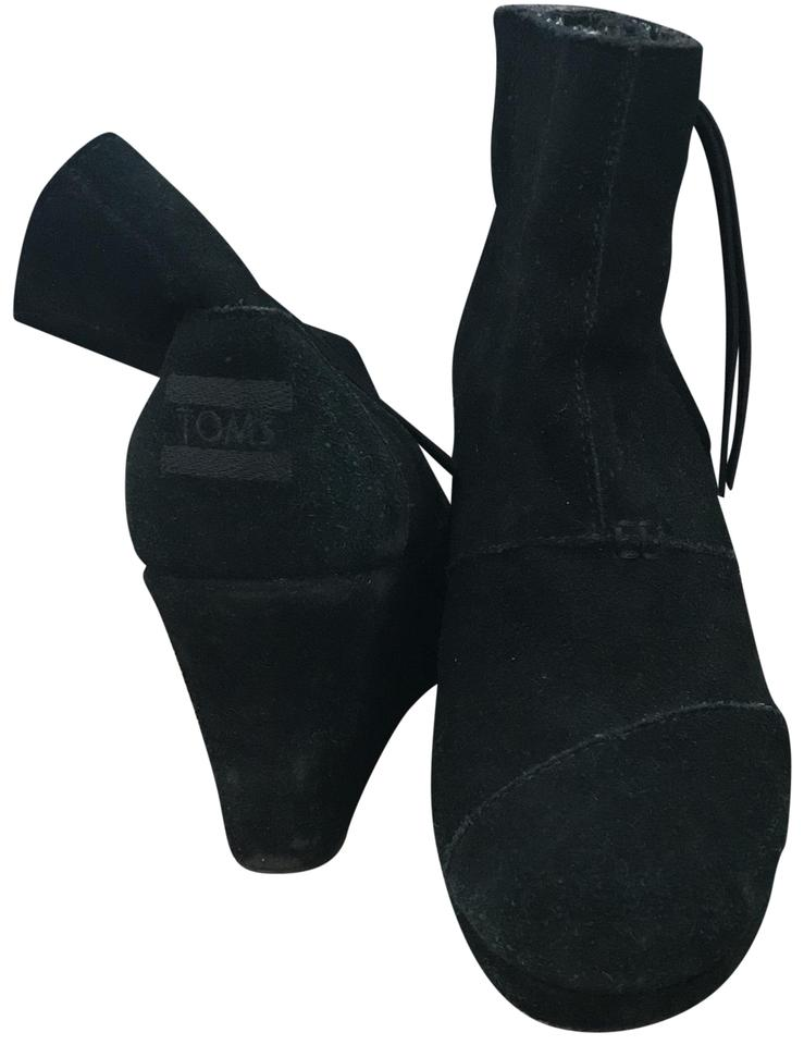 56265824ad6 TOMS Black Suede Wedged Boots Booties. Size  US 7.5 Regular (M ...