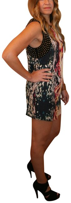 Item - Multicolor Blue Red Yellow Flame Sleeveless Studded Tank Short Night Out Dress Size 8 (M)
