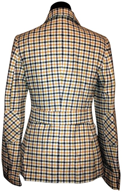 Item - Multi Plaid Blue / Yellow / Mustard Fitted Elbow Patch Wool Blend Blazer Size 4 (S)