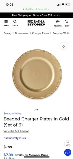 Bed Bath & Beyond Gold Charger Plates Reception Decoration