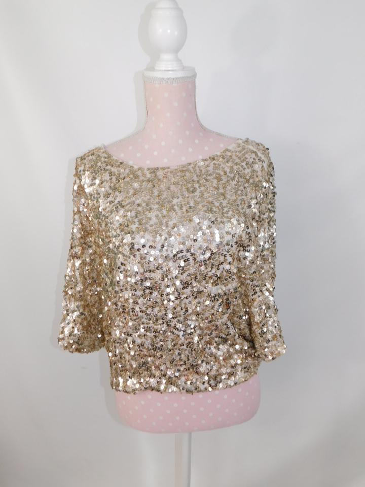 870ae46d74c59 Vince Gold Sequin Blouse Size 2 (XS) - Tradesy