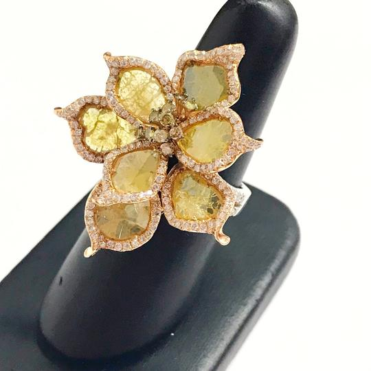 Other GORGEOUS VINTAGE!!!! 18 Karat Rose Gold 18 Karat White Gold and Diamond Flower Ring 18 Karat Rose Gold 18 Karat White Gold Small Round Diamonds weighing 1.83 carats total weight Golden Colored Faceted Diamond Slices weighing 4.05 carats total weight 13.3 Grams Size: 7.5 BEAUTIFUL!!! Comes with Box!!! Image 1
