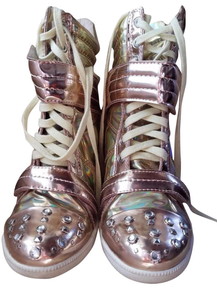 e4857d741fd Boutique 9 Metallic Gold Gold Rose Yellow Iridescent Nevan Wedge Splatter Sneakers  Sneakers. Size  US ...