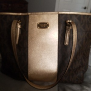 Michael Kors Tote in Brown & gold with mk logo as nd matching cosmetic purse