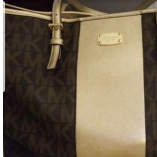 Michael Kors Tote in Brown & gold with mk logo as nd matching cosmetic purse Image 1