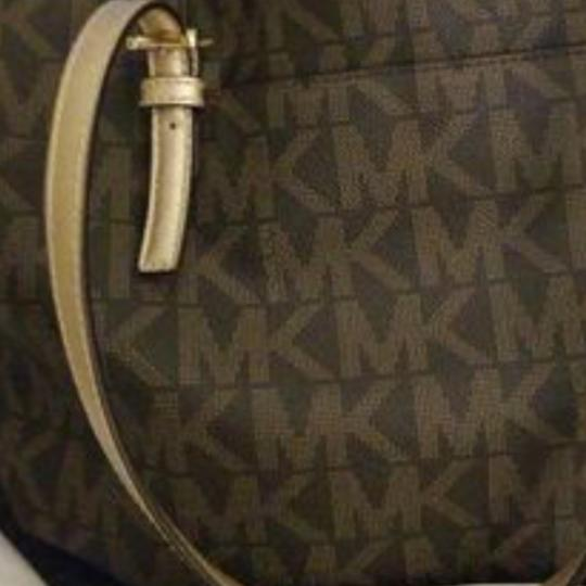 Michael Kors Tote in Brown & gold with mk logo as nd matching cosmetic purse Image 2