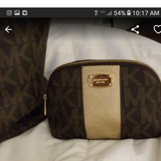 Michael Kors Tote in Brown & gold with mk logo as nd matching cosmetic purse Image 3