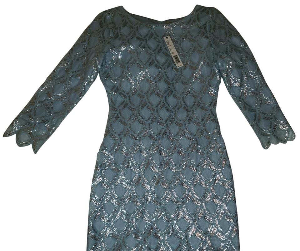 a17fdf4e7eb Gianni Bini Light Baby Blue with Silver Sequins Dazzling Debut Cocktail  Dress. Size  12 ...