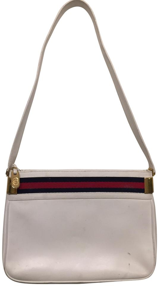 60bf6708eee Gucci Vintage W  Signature Stripes White Leather Shoulder Bag - Tradesy