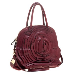 Valentino Leather Rose Satin Satchel in Red