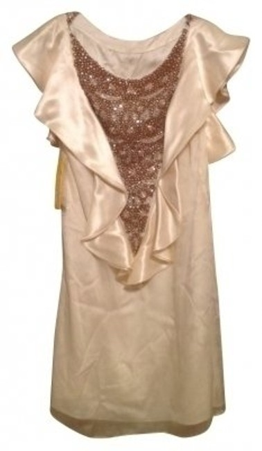 Item - Cream Silk Beaded Cocktail/Formal Above Knee Formal Dress Size 4 (S)