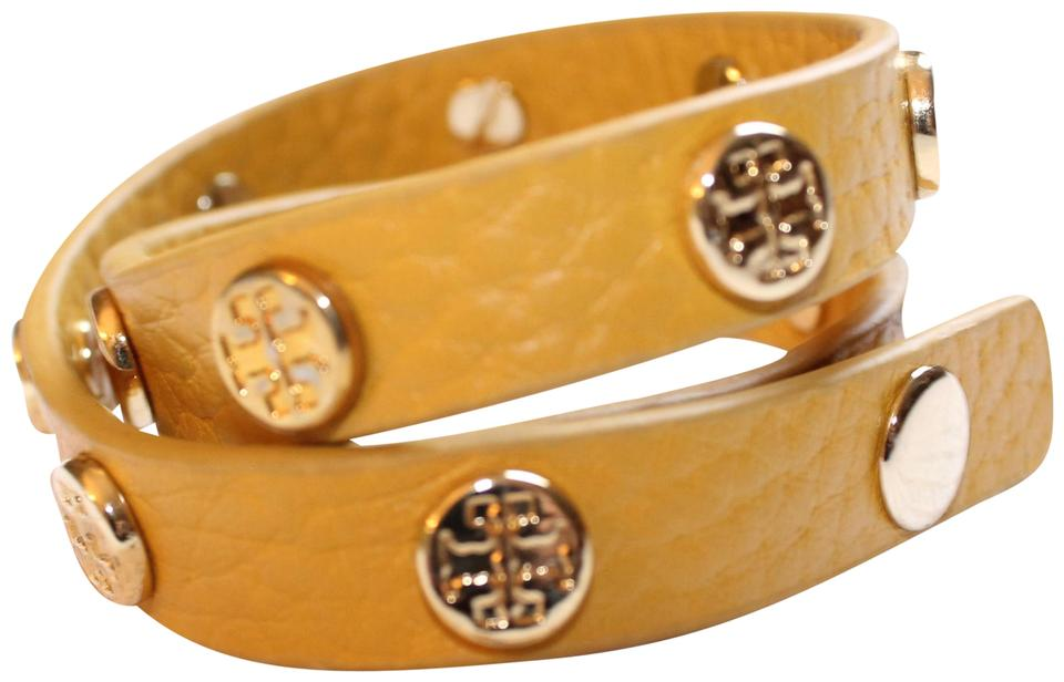 1dfdf4b01800e Tory Burch Yellow Gold Studded Double Wrap Bracelet - Tradesy