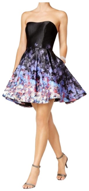 Preload https://img-static.tradesy.com/item/24372154/betsy-and-adam-blueblack-cream-adamprinted-strapless-fit-flare-short-formal-dress-size-8-m-0-1-650-650.jpg