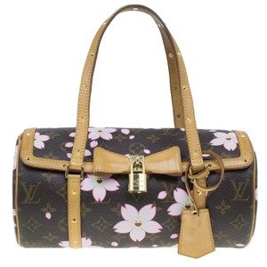 Louis Vuitton Limited Edition Cherry Blossoms Alcantara Fabric Canvas Satchel in Brown
