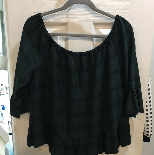 BB Dakota Top black and green plaid Image 1