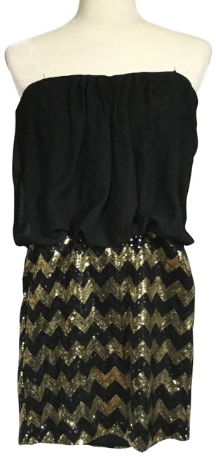 Preload https://img-static.tradesy.com/item/24372258/snap-black-trendy-party-small-gold-chevron-short-night-out-dress-size-6-s-0-1-650-650.jpg