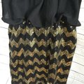 Snap Strapless Blouson Chevron Gold Dress Image 2