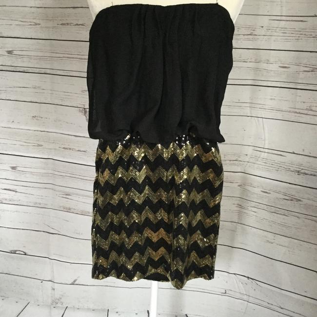 Snap Strapless Blouson Chevron Gold Dress Image 3