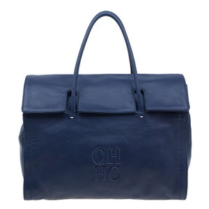 Carolina Herrera Leather Fabric Chic Tote In Blue